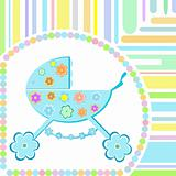 vector Baby boy arrival announcement greeting card