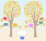 Greeting card with cute birds under tree vector