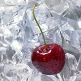 red cherry on ice