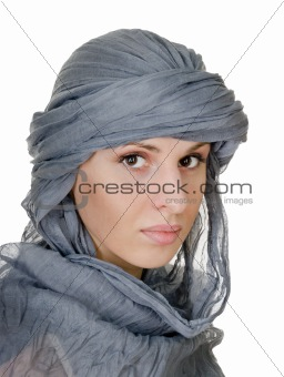 oriental style woman in shawl