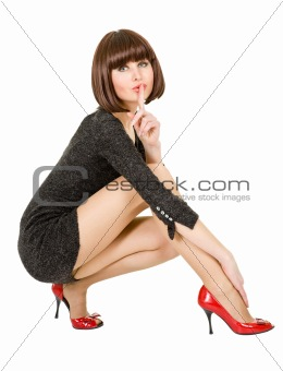 woman flirts squatting