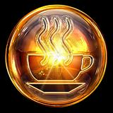 Coffee cup icon fire, isolated on black background
