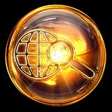 search icon fire, isolated on black background