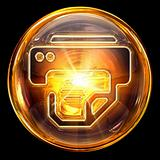 printer icon fire, isolated on black background.