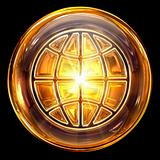 World icon fire, isolated on black background
