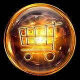 shopping cart icon fire, isolated on black background