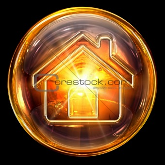 House icon fire, isolated on black background