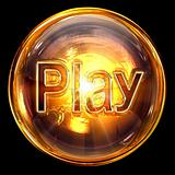 Play icon fire, isolated on black background