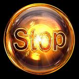 Stop icon fire, isolated on black background