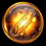 Paperclip icon golden, isolated on black background