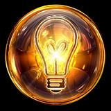 Bulb icon golden, isolated on black background