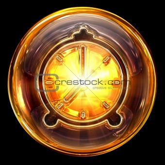Clock icon golden, isolated on black background