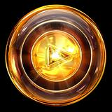 Play icon golden, isolated on black background
