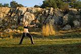 Kung fu woman in park