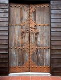 Old Wooden Door with Bronze Fittings