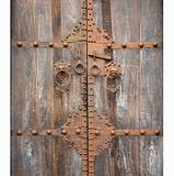 Antique Wooden Door with Bronze Fittings