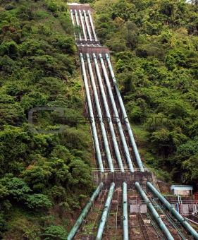 Large Penstock Pipes on a Mountain Slope
