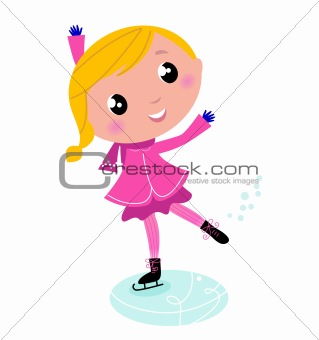 Figure skating cute little blond Child isolated on white