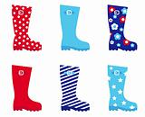 Fresh &amp; colorful rubber wellington boots isolated on white