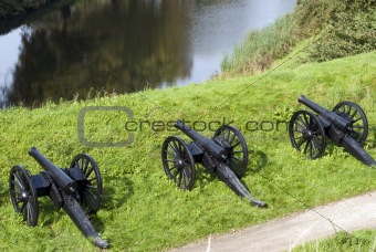 Three cannons waiting