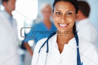 Young female doctor leading her team