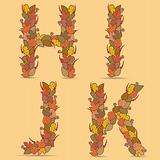 H,I,J,K Vector colorful font.