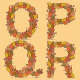 O,P,Q,R Vector colorful font.