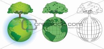 Tree on  a globe
