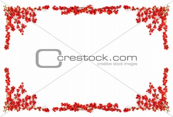 Christmas border with red berries