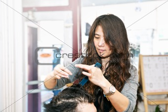 Hair stylist working