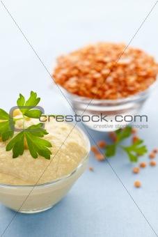 Red lentils and lentil hummus
