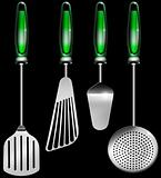 Kitchen utensils on black
