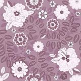 Seamless violet floral pattern