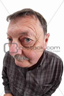 Old man fisheye portrait