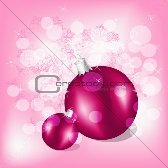 vector christmas balls on background with snowflakes and stars