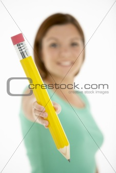 Woman Holding Big Pencil