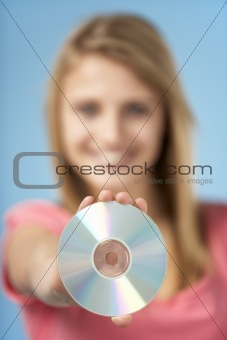Teenage Girl Holding DVD