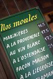 Menu Board Outside Belgian Restaurant
