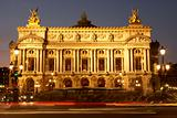 Exterior Of Paris Opera House At Night