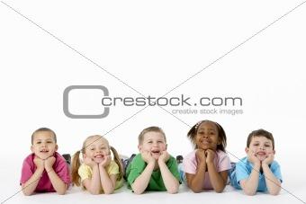 Group Of Young Children In Studio