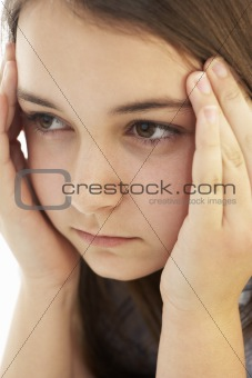 Portrait Of Stressed Young Girl