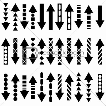 A vector set of useful black arrows. Vector illustration.