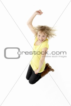 Teenage Girl Leaping In Studio