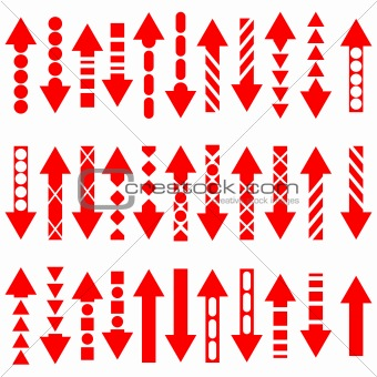 A vector set of useful red arrows.