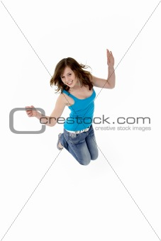 Young Girl Leaping In Studio