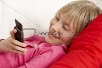 Young Girl Reading Text Message