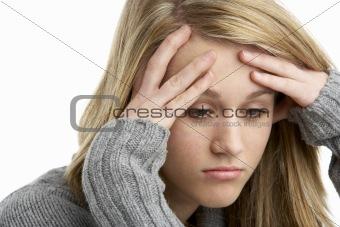 Portrait Of Stressed Teenage Girl