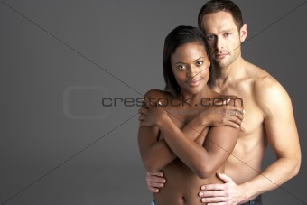 Young Naked Couple Embracing