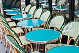 Empty Cafe terrace in paris,France