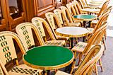 Empty Cafe terrace in paris,France